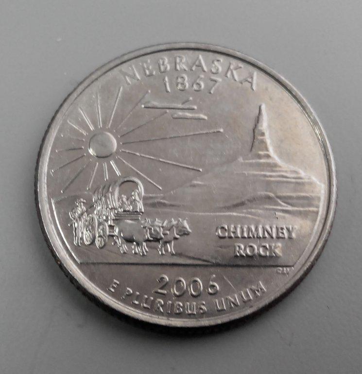 25 центов (квотер) - квотер штата небраска, в цвете 2006 года р