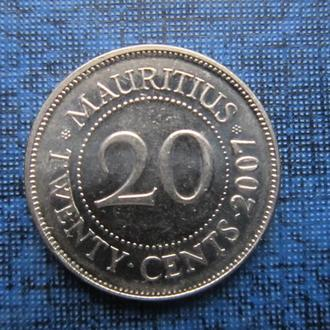 Монета 20 центов Маврикий 2007