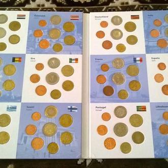 Колекция Полный набор евро монет первых 12 стран ЕВРОСОЮЗА в спец альбом