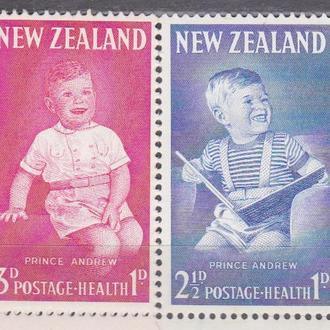 Новая Зеландия 1963 ПРИНЦ ЭНДРУ PRINCE ANDREW МОНАРХИЯ КОРОЛЕВСКАЯ СЕМЬЯ ПРЕСТОЛ Mi.425-426**