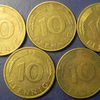 10 пфенінгів 1991 ФРН (всі монетні двори)