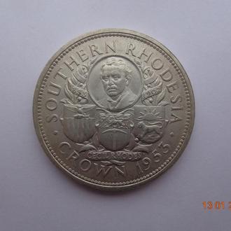 """Южная Родезия 1 крона 1953 Elizabeth II """"Birth of Cecil Rhodes"""" серебро СУПЕР состояние очень редкая"""