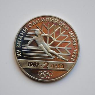 Болгария 2 лева 1987 г., PROOF, 'XV зимние Олимпийские игры, Калгари 1988'