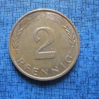 Монета 2 пфеннига ФРГ 1989 G