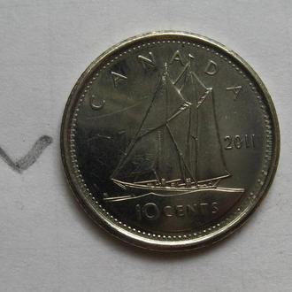 КАНАДА 10 центов 2011 г. (ПАРУСНИК).