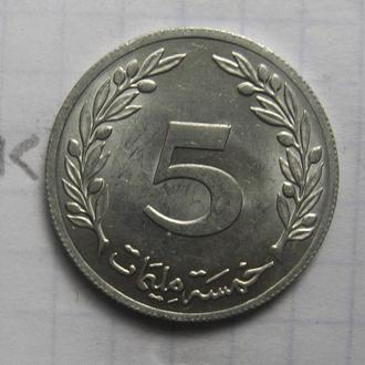 ТУНИС 5 миллимов 1983 года (состояние).