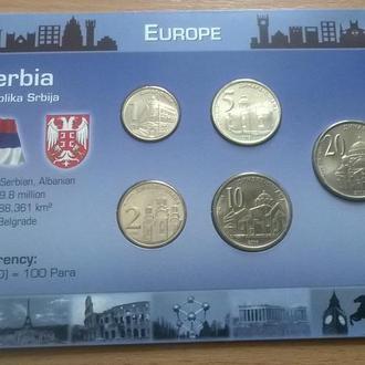 Набор монет СЕРБИЯ пластик картон блистер запайка