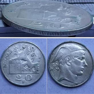 Бельгия 20 франков, 1950 Надпись на французском - 'BELGIQUE' Монетное отношение аверс/реверс (180°)