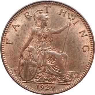 Великобритания 1 фартинг 1929 г., UNC, 'Король Георг V (1910-1936)'