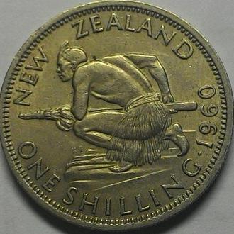 Новая Зеландия, 1 шиллинг 1960 год СОХРАН!!!