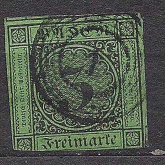 Баден, 1853г., немецкие земли, марка № 6