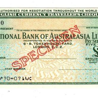 Дорожный Чек Австралия Англия 5 фунта Образец