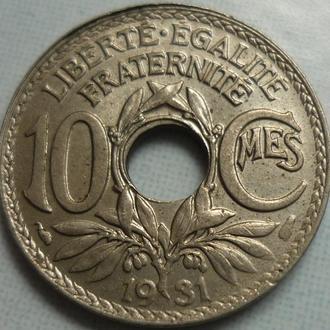Франция 10 сантимов 1931 состояние