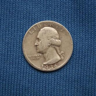 США  25 центов квотер  1936 г  СЕРЕБРО