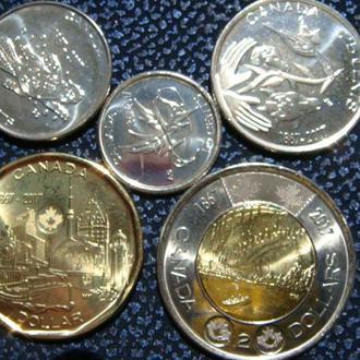 Канада  5 центов  2 доллара 2017 год  150 лет Канады набор 5 монет