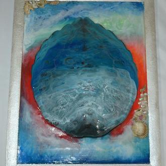 "Картина ""Панцырь"" в технике Resin Art ."