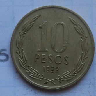 10 песо 1993 г. ЧИЛИ.