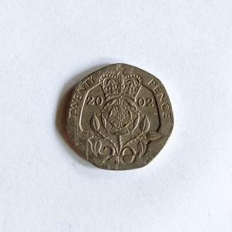 20 пенсов, Великобритания, 2002