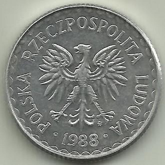 Польша (ПНР) 1 злотый 1988
