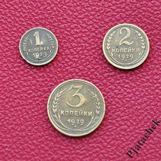 Набор 3 копейки, 2 копейки, 1 копейка  1929 г  СССР  одним лотом