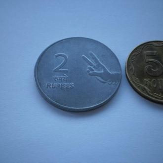 монета хорошого настрою Индия 2007 год монета старого зразка 2 рупи Індія 2 рупі крупний номінал
