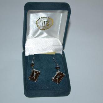 серьги с бриллиантом серебро 925 проба чернение вес 7,62 грамм в коробке винтаж the bradford exchan