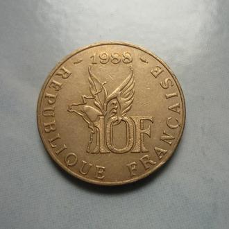 Франция 10 франков 1988 юб