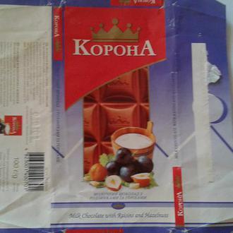 """Обертка от шоколада """"Корона """". Украина"""