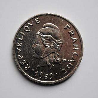 Французская Полинезия 20 франков 1969 г., UNC, 'Заморское сообщество Франции (1965-2015)'