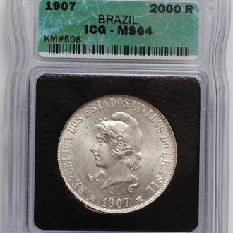 Бразилия 2000 рейсов 1907 г., ICQ MS64, 'Первая Республика (1889 - 1942)'
