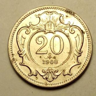 20 геллеров 1908 года Австрия !!! а2
