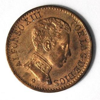 Испания 1 сентимо 1906 г., UNC, 'Король Альфонсо XIII (1886-1931)'