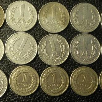 1 злотий Польща (порічниця з 1929), 15шт, всі різні