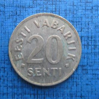 Монета 20 сенти Эстония 1992