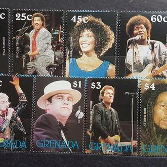 Гренада 1988 музыка Мадонна, Элтон Джон и др. Б/Зуб. Михель = 11 евро**