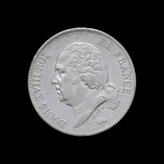 5 Франков 1824 W Луи XVIII,(110) Франция