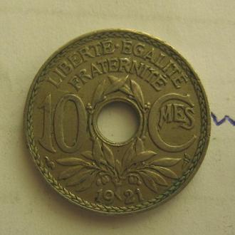 Франция, 10 сантимов 1921 года.
