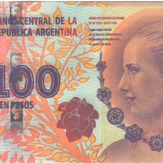 Аргентина 100 песо 2012г. в UNC из пачки Eva Peron Commemorative