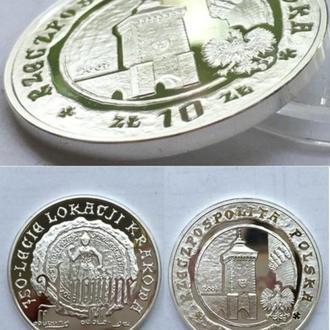 Польша 10 злотых, 2007г. 750 лет городу Краков .серебро / в капсуле