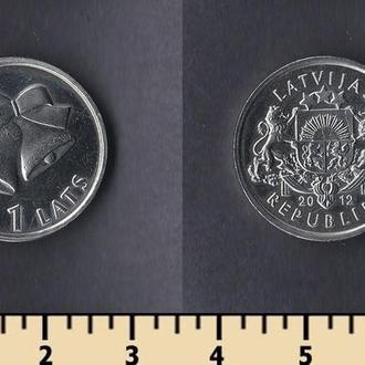 Латвия 1 лат 2012