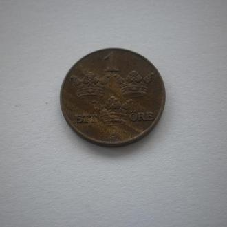 Довоєнна Європа. Швеція Швеция. 1 оре 1939 рік 1939 год. Три корони на гербі. Альбомне збереження.