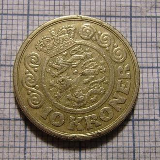 Дания, 10 крон 1989 г