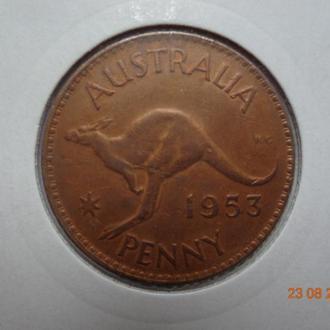 """Австралия 1 пенни 1953 Elizabeth II """"Kangaroo"""" отличное состояние очень редкая"""