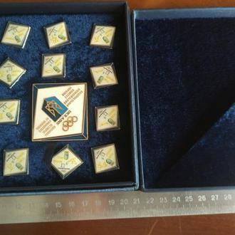 Комплект знаков НОК Украины на XXIII Олимпиаде 2018 год, Пхенчхан, родная коробка, состояние люкс