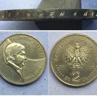 Польша 2 злотых, 2008г. 10 лет со дня смерти Збигнева Херберта / Юбилейная монета