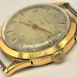 Часы Россия редкие ПЧЗ позолота Au ромб есть трещина на стекле