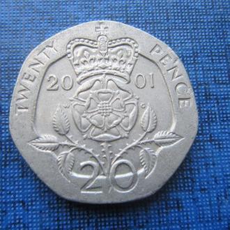Монета 20 пенсов Великобритания 2001