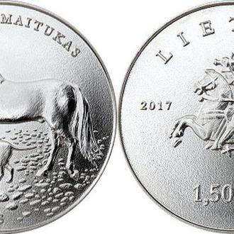 Shantal,  Литва 1,5 евро 2017, Литовская гончая и Жемайтская лошадь