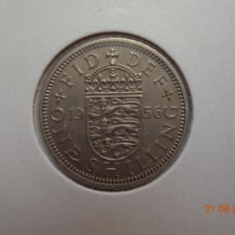 """Великобритания 1 шиллинг 1956 Elizabeth II """"English crest"""" СУПЕР состояние редкая"""