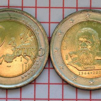 Италия 2 евро, 2014 450 лет со дня рождения Галилео Галилея